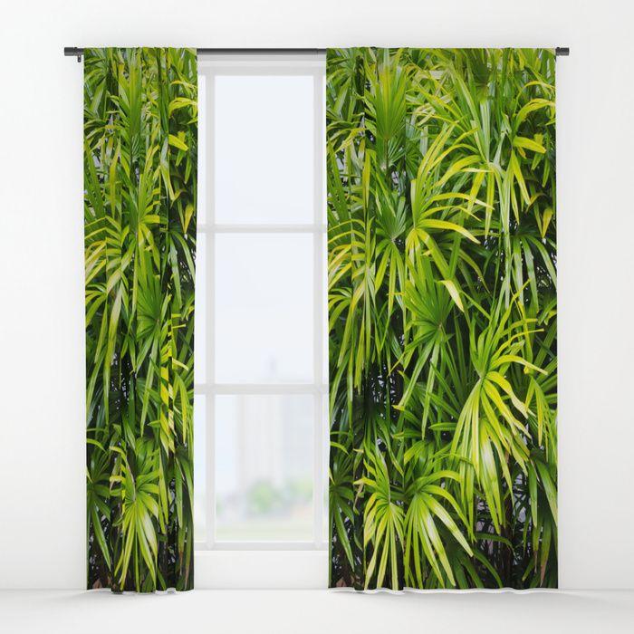 Green Palm Leaves Window Curtain Blackout Sheer Nautical Beach Tropical