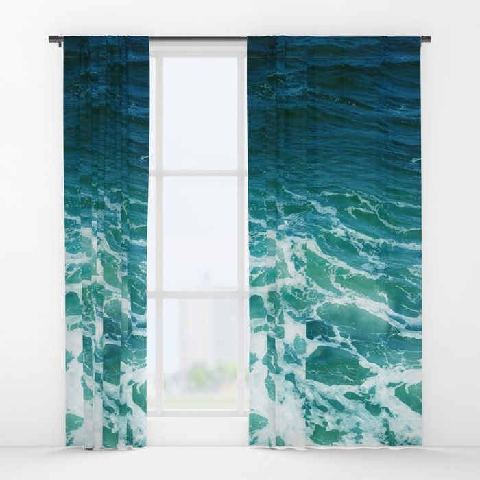 Turquoise White Ocean Water Window Curtain Blackout