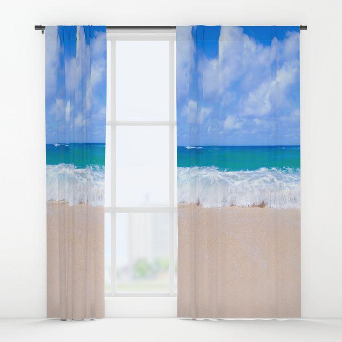 Tropical Beach Window Curtain, Blackout Curtain, Sheer