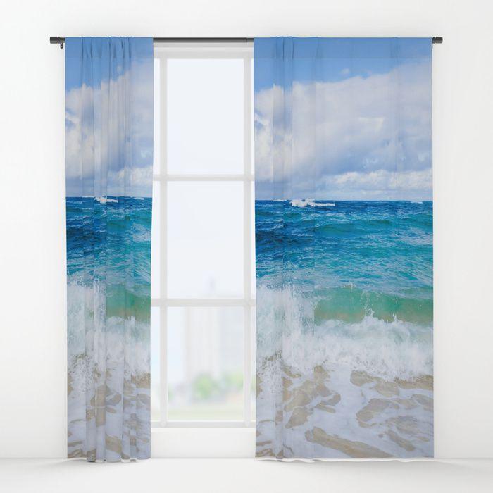 Tropical Ocean Window Curtain, Blackout Curtain, Sheer