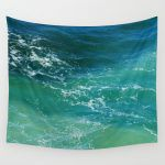 turquoise calm ocean surf tapestry