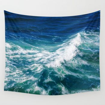 turquoise teal ocean surf tapestry