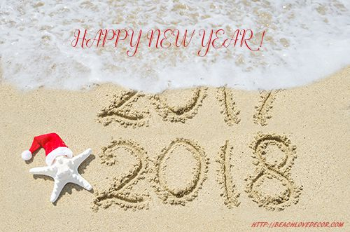 2018 year is coming concept, beach background near ocean with starfish in Santa Hat