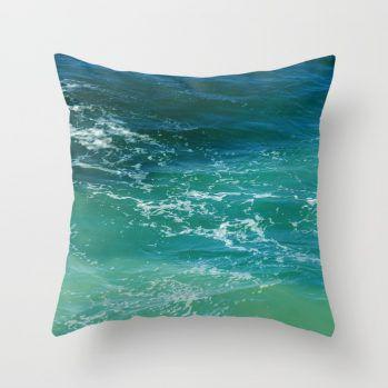 turquoise calm ocean surf pillow cower