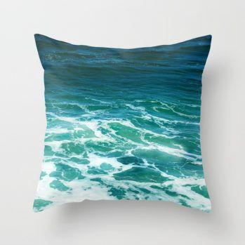 turquoise ocean surf pillow