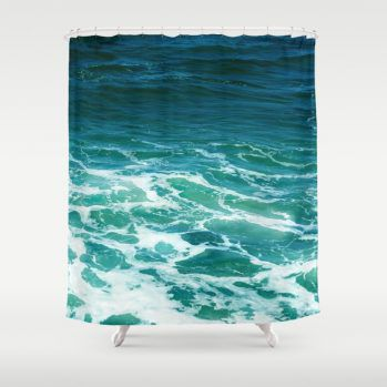 turquoise ocean surf shower curtain