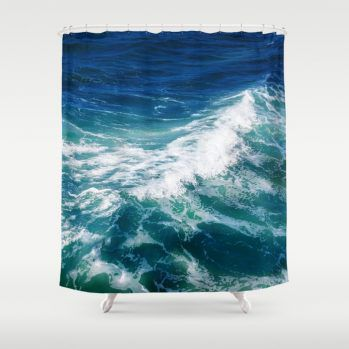 turquoise teal ocean shower curtain