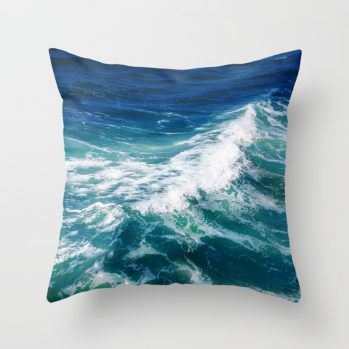 turquoise teal ocean surf pillow