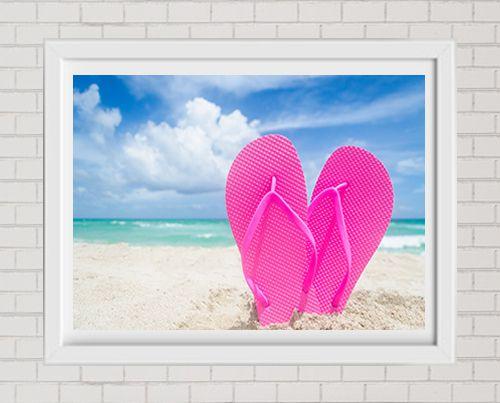 Fine Art Print Pink Flip Flops On The Beach Large Format Wall Decor